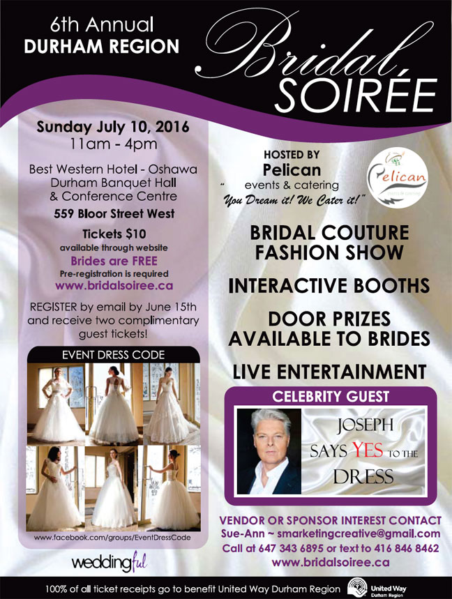 6th annual Durham Region Bridal Soiree on July 10th, 2016